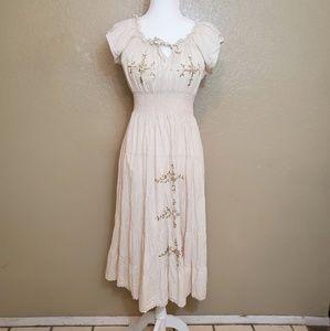 Sacred Threads Embroidered Cotton Boho Dress Sz S